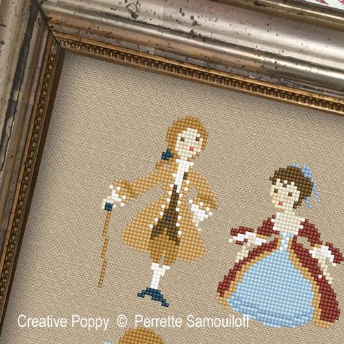 Perrette Samouiloff - La vie de château - La cour de Versailles du temps de Mme de Pompadour, zoom 1 (grille de broderie point de croix)