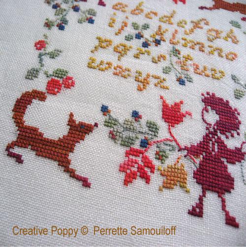 <b>Abécédaire Le renard et l'enfant</b><br>grille point de croix<br>création <b>Perrette Samouiloff</b>