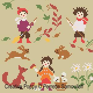 <b>Bonheurs d'enfance, l'automne - GM</b><br>grille point de croix<br>création <b>Perrette Samouiloff</b>