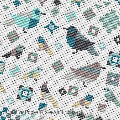 Le Patch aux oiseaux broderie point de croix, création Riverdrift House, zoom2