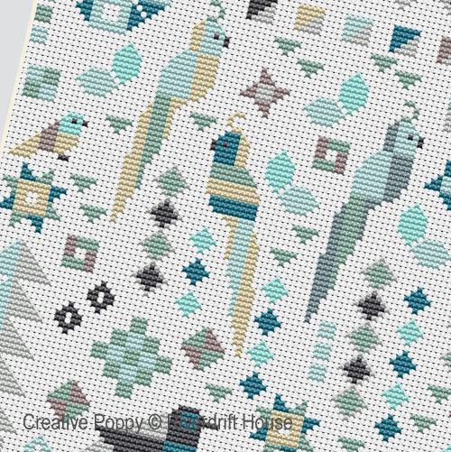 Le Patch aux oiseaux broderie point de croix, création Riverdrift House, zoom3