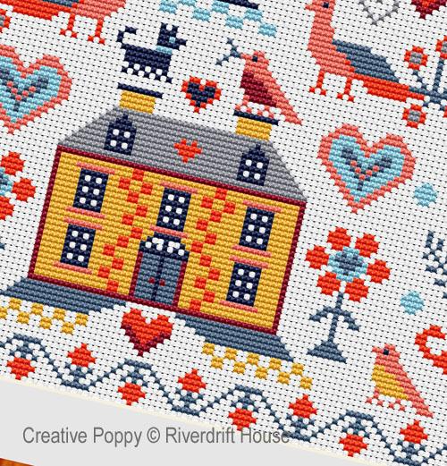 La maison jaune cross stitch pattern by Riverdrift House