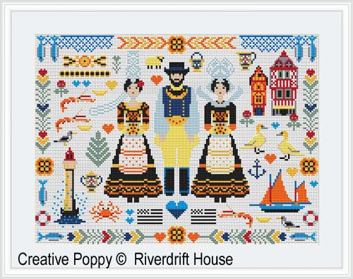 Folkies de Bretagne, grille de broderie, création Riverdrift House