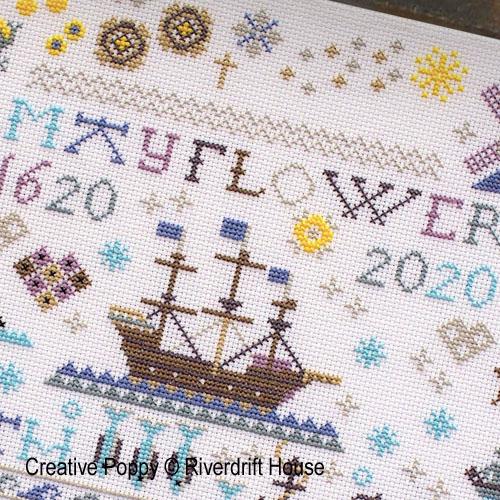 Riverdrift House, grille de broderie, création Les 400 ans de la traversée du Mayflower