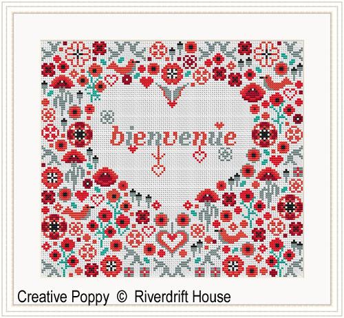 Riverdrift House - Bienvenue Coeur Coquelicots (grille broderie point de croix)