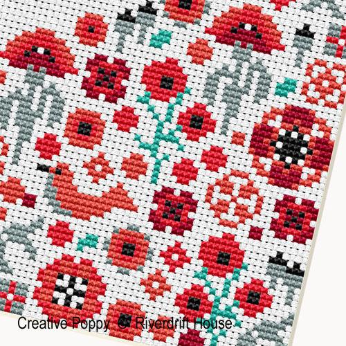 Riverdrift House - Bienvenue Coeur Coquelicots, zoom 1 (grille de broderie point de croix)