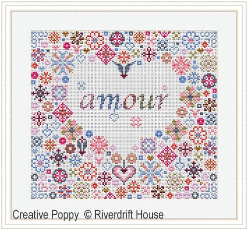 Coeur d'amour, grille de broderie, création Riverdrift House