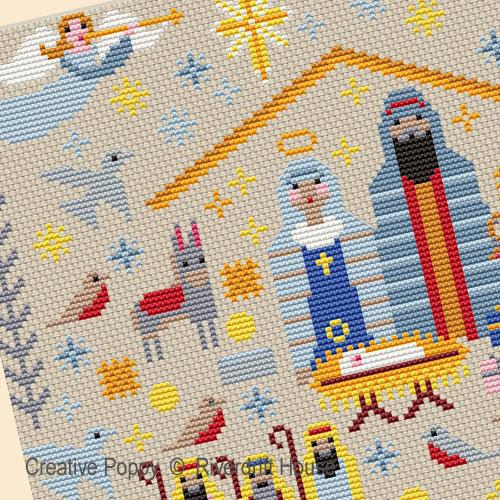 Crèche de Noël, grille de broderie, création Riverdrift House