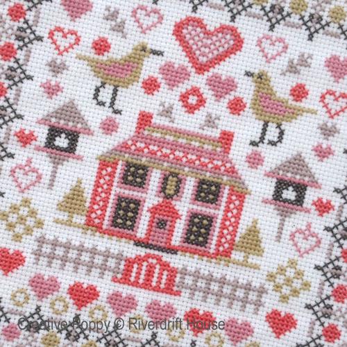 La petite maison aux oiseaux, grille de broderie, création Riverdrift House
