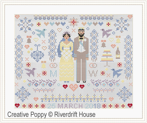 Mariage Folkies, grille de broderie, création Riverdrift House