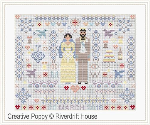 Mariage Folkies, grille de broderie, création Riverdrift House