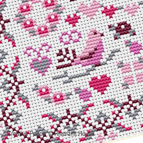 Miniature amour, grille de broderie, création Riverdrift House