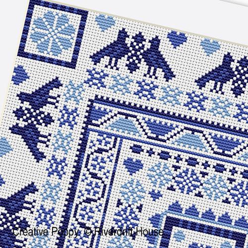 Marquoir Bleu Hongrois, grille de broderie, création Riverdrift House