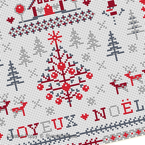 Joyeux Noël des bois, grille de broderie, création Riverdrift House
