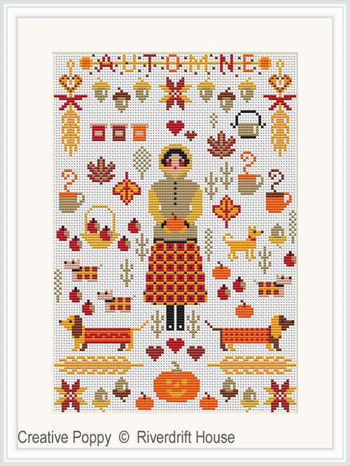 Miniature d'automne, grille de broderie, création Riverdrift House