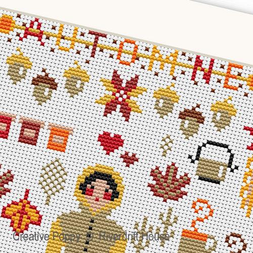 Riverdrift House - Miniature d'automne, zoom 1 (grille de broderie point de croix)