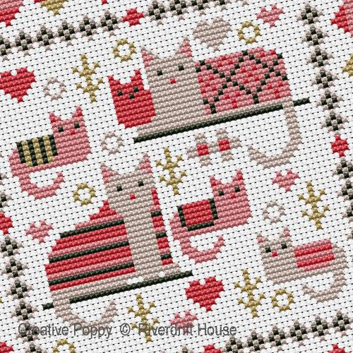 Miniature aux chats, grille de broderie, création Riverdrift House