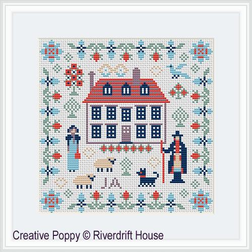 Miniature Jane Austen, grille de broderie, création Riverdrift House