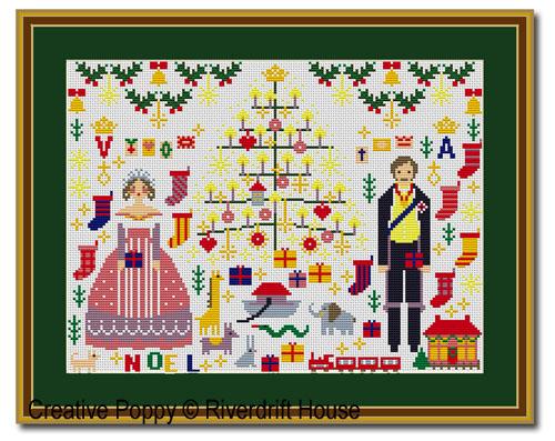 Noël Victorien, grille de broderie, création Riverdrift House
