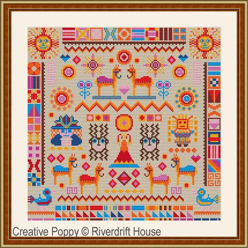 Sampler Inca, grille de broderie, création Riverdrift House