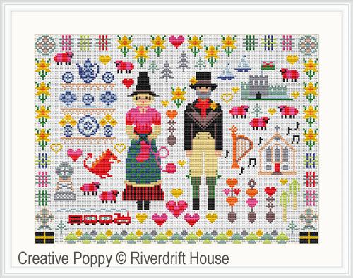 Folkies du Pays de Galles, grille de broderie, création Riverdrift House
