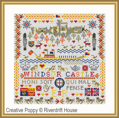 Le chateau Royal de Windsor, grille de broderie, création Riverdrift House