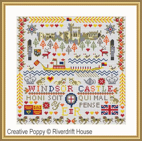 Le chateau Royal de Windsor, grille de broderie, création Riverdrift House