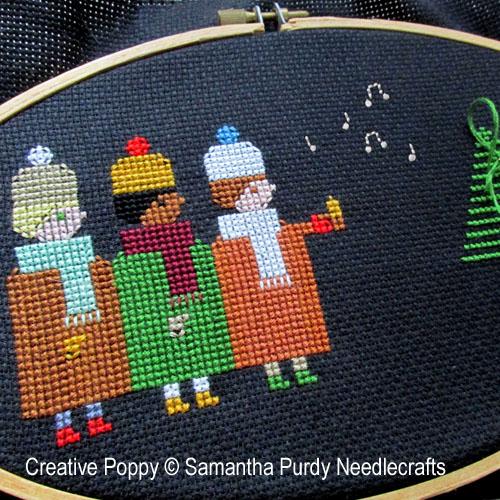 Chanteurs de Noël, grille de broderie, création Samantha Purdy