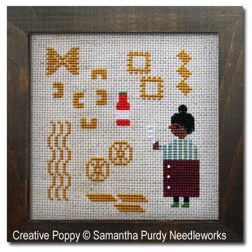 Ce soir, c'est des pâtes!, grille de broderie, création Samantha Purdy