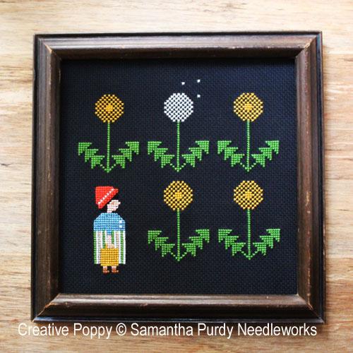 Fleurs de pissenlit, grille de broderie, création Samantha Purdy