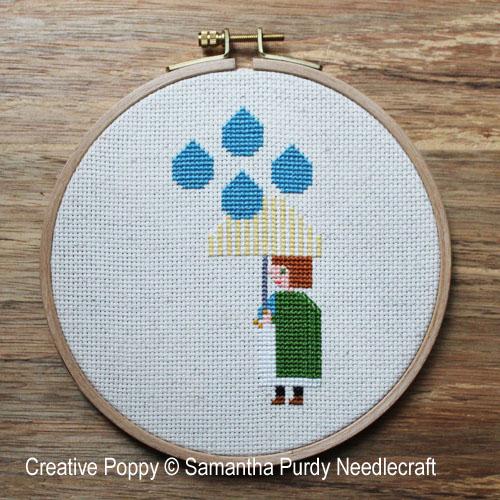 Il pleut, grille de broderie, création Samantha Purdy