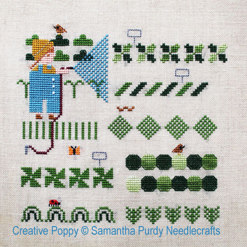 Jardin potager, grille de broderie, création Samantha Purdy