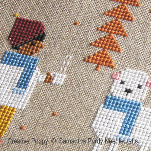 Les écharpes bleues, grille de broderie, création Samantha Purdy