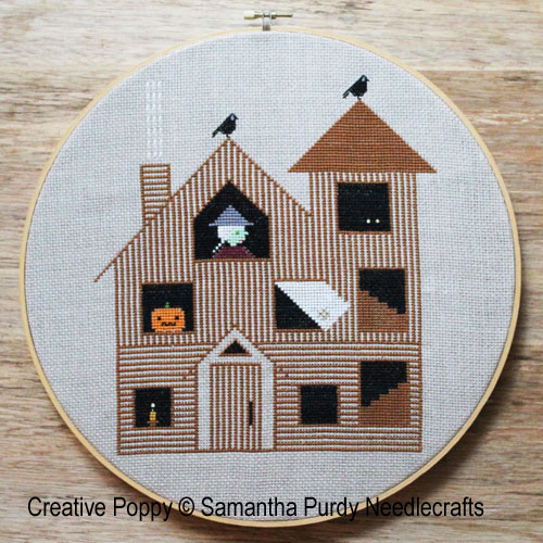 Maison de Halloween, grille de broderie, création Samantha Purdy