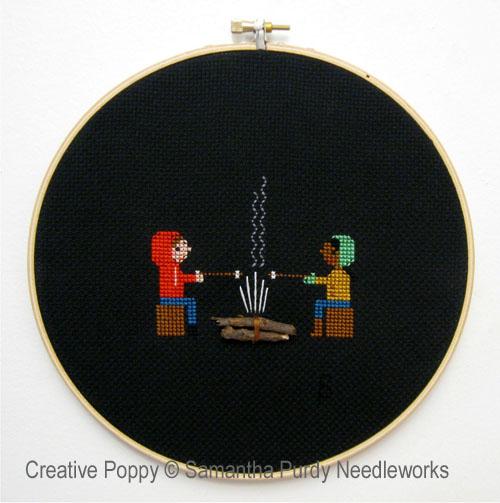 Feu de camp, grille de broderie, création Samantha Purdy