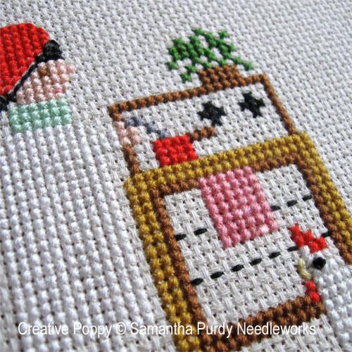 Une poule dans la maison, grille de broderie, création Samantha Purdy