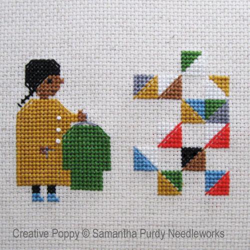 Un quilt, à partir de vieux habits, grille de broderie, création Samantha Purdy