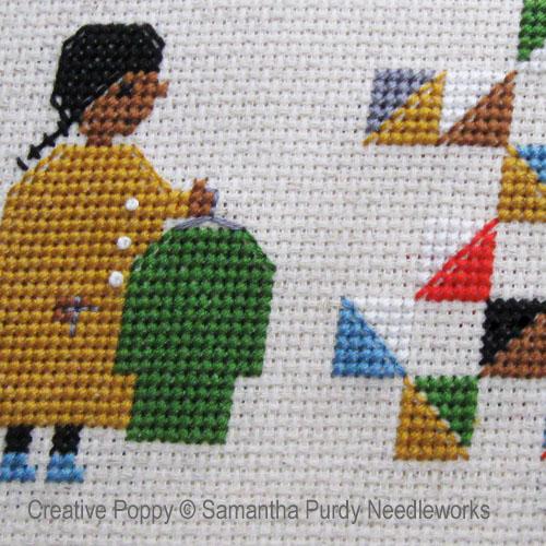 Samantha Purdy - Un quilt, à partir de vieux habits, zoom 1 (grille de broderie point de croix)
