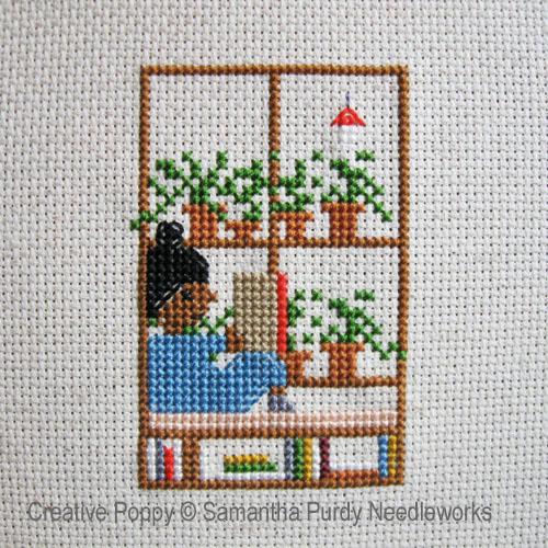 Samantha Purdy - Lecture à la fenêtre (grille de broderie point de croix)