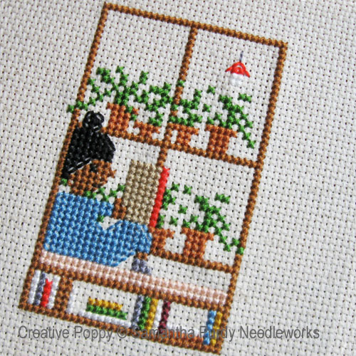 Lecture à la fenêtre, grille de broderie, création Samantha Purdy