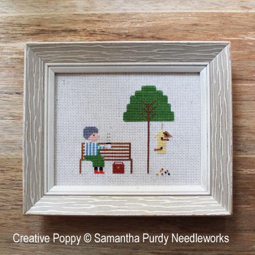 Le nichoir jaune, grille de broderie, création Samantha Purdy