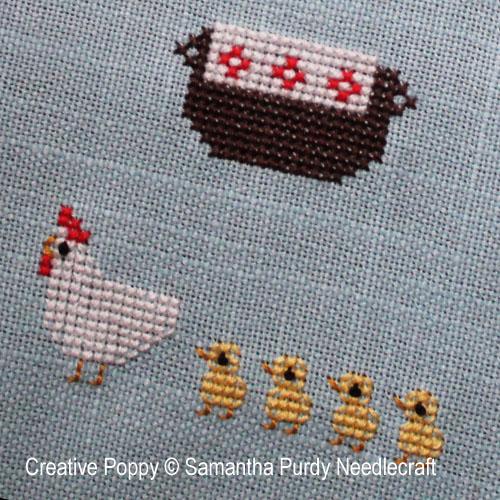 Paniers de printemps, grille de broderie, création Samantha Purdy