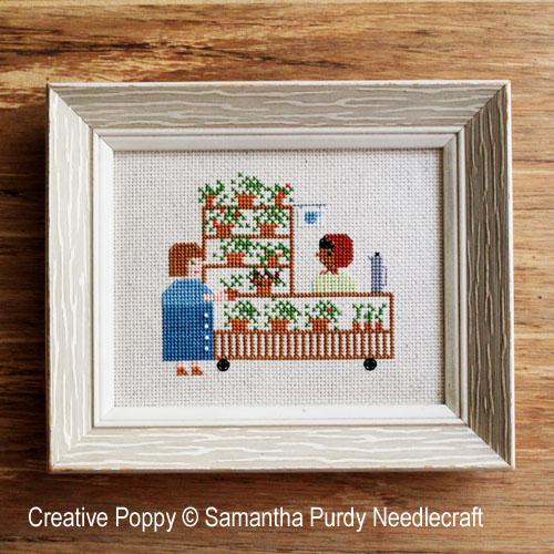 Le stand de café et de plantes, grille de broderie, création Samantha Purdy