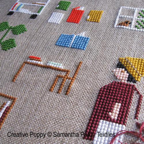 A la bibilothèque, grille de broderie, création Samantha Purdy