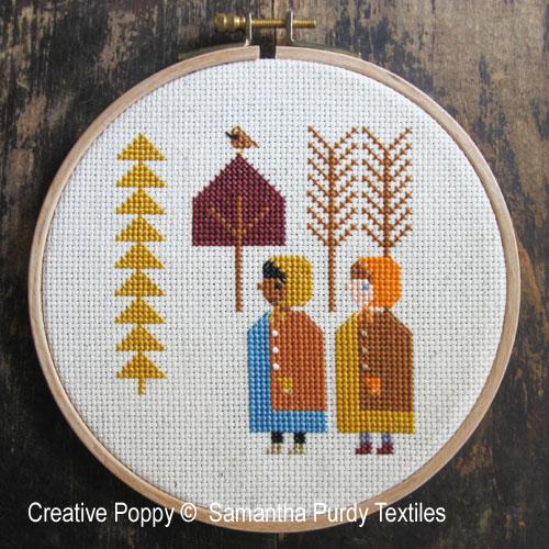 Arbres d'automne, grille de broderie, création Samantha Purdy