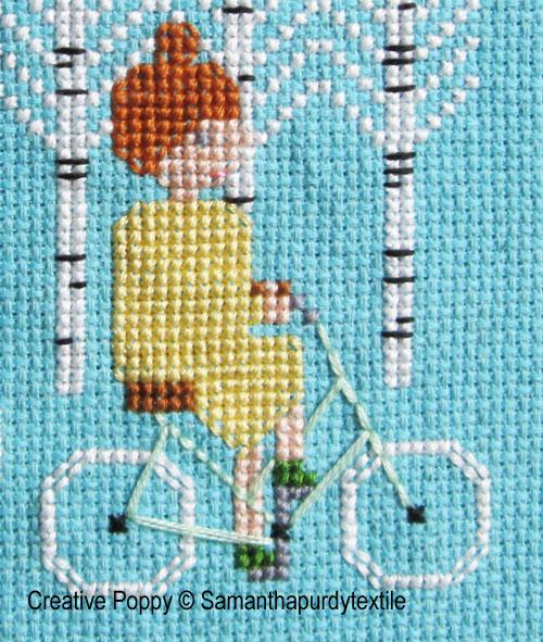 Samantha Purdy - Ballade à vélo (grille de broderie point de croix), zoom 1