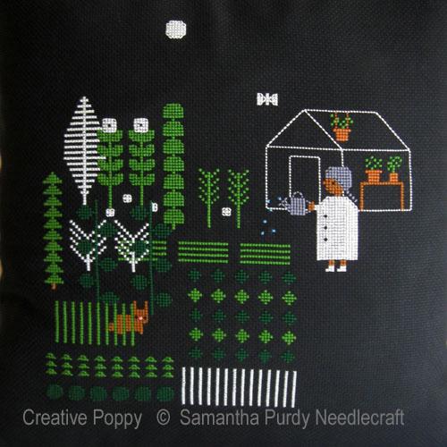 Jardin, la nuit tombée, grille de broderie, création Samantha Purdy