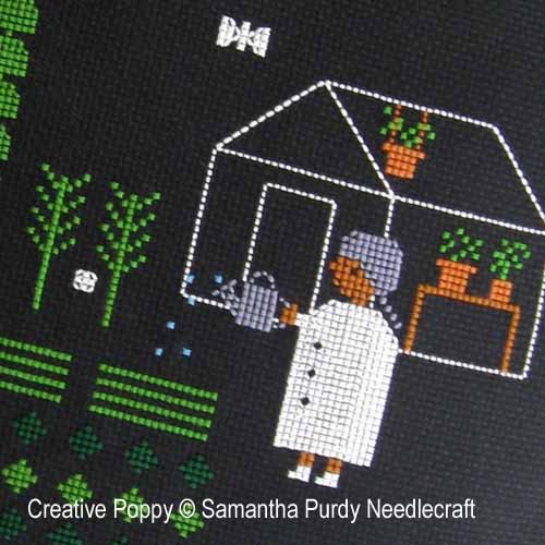 Samantha Purdy - Jardin, la nuit tombée (grille de broderie point de croix)
