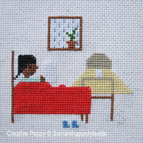 Samantha Purdy - Lecture au lit (grille de broderie point de croix)