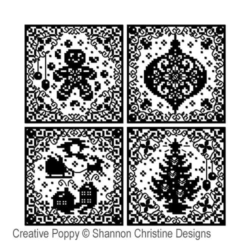 Silhouettes de Noël, grille de broderie, création Shannon Christine Wasilieff